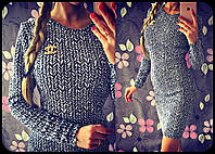Женское стильное повсдневное платье косичка черно-белый, S