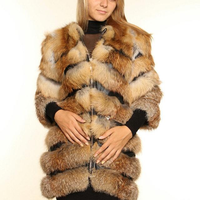 Шуба полушубок из натурального меха лисы с кожаными вставками от производителя