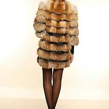 Шуба полушубок из натурального меха лисы с кожаными вставками от производителя, фото 3