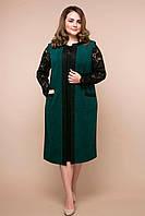 Костюм больших размеров платье и кардиган Брукс зеленый