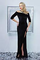 Нарядное женское платье в пол, чёрное, велюр, размер 44-48
