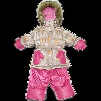 Детский зимний термокомбинезон р. 86: штаны и куртка на флисе и отстегивающейся овчине, фото 1