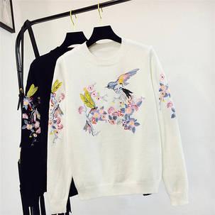 Свитер женский Птички, Цветочки, фото 2