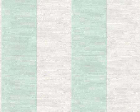 Обои в широкую полоску мятного пастельного цвета 340102.