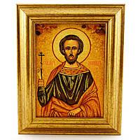 Икона Леонид из янтаря