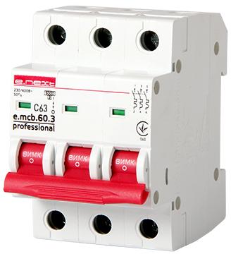 Модульный автоматический выключатель e.mcb.pro.60.3.C 63 new, 3р, 63А, C 6кА new, фото 2
