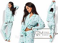 Домашний костюм свободный из вискозного креп-шифона - рубаха с отложным воротником и штаны на завязках 8410