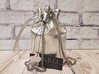 Серебристая сумочка бочонок натуральная кожа 1729, фото 1