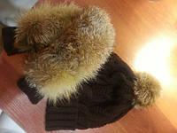 Женская стильная шапка и варежки с натуральным мехом (отдельно) коричневый