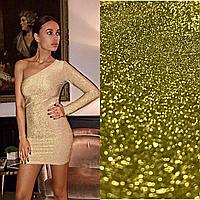 Женское платье на один рукав в золотом цвете, фото 1