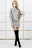 Женское платье-туника летучая мышь Шерли / размер 44-54 / цвет серый