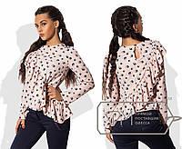 Блузка асимметричная из рубашечной вискозы свободного покроя с косой двусторонней оборкой 8552