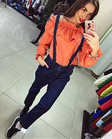 Женские модные джинсовые брюки с лямками