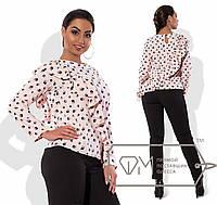 Блузка прямая из принтованной рубашечной вискозы с длинными рукавами и двусторонней косой оборкой X6071