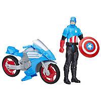 Капитан Америка с мотоциклом  Marvel из серии Титаны. ОРИГИНАЛ Hasbro