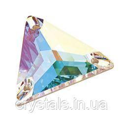 Пришивные хрустальные треугольники Preciosa (Чехия) 16 мм Crystal AB