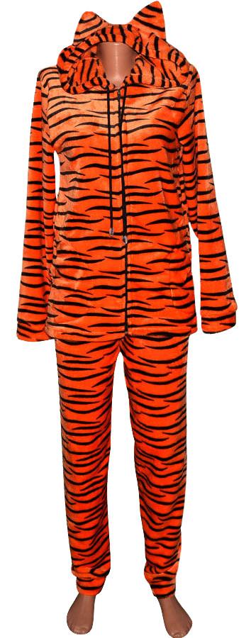 Комплект костюм женский домашний махровый Тигр с ушками, р.р.40-58