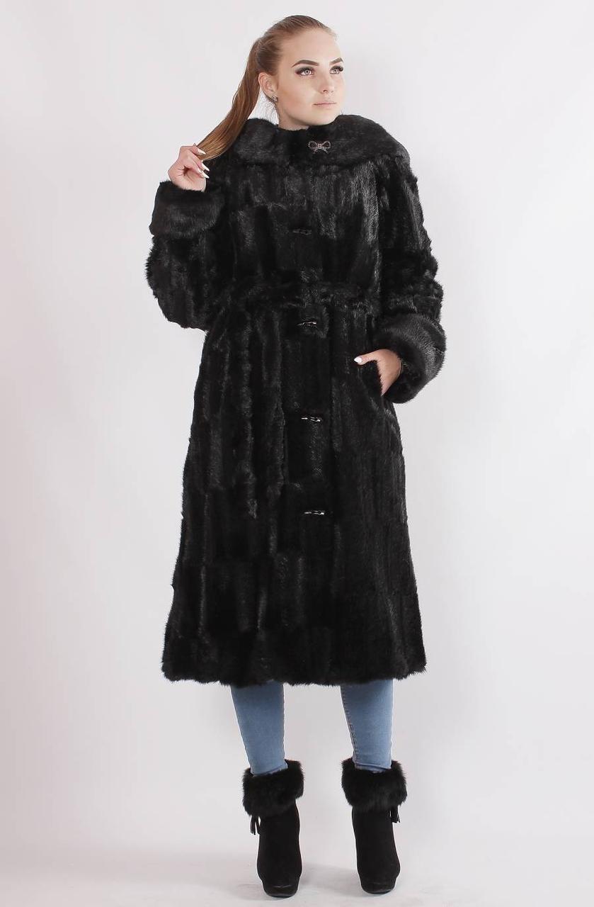 Женская шуба из искусственного меха под норку, черная, паркет