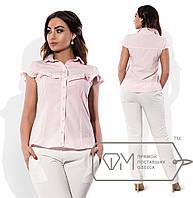 Рубашка-блузка приталенная из поплина стрейч с поперечной оборкой на лифе, переходящей на короткие рукава X6150