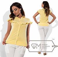 Рубашка-блузка приталенная из поплина стрейч с поперечной оборкой на лифе, переходящей на короткие рукава X6151