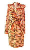 Халат женский махровый 03517-3 Тигр с капюшоном, р.р. 40-52