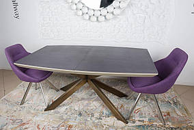Стол обеденный PORTLAND мокко/баклажан/олово(стеклокерамика) (Nicolas TM)