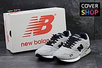 Кроссовки New Balance 878 Abzorb, бежевые с темно-синим, материал - замша