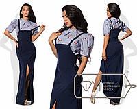 Комплект - сарафан макси приталенный из рубашечной костюмки на тонких бретелях с разрезом и блуза присборенная из коттона 8799