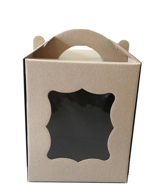 Коробка для пасхи-кексов 170*170*210 мм. бурая KPP1