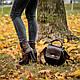 Модна кругла жіноча сумка з натуральної шкіри та замші будь-якого кольору., фото 6