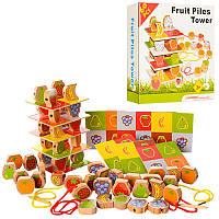 Деревянная игрушка Шнуровка  фрукты и ягоды, 60дет, в кор-ке, 21-21-4,5см