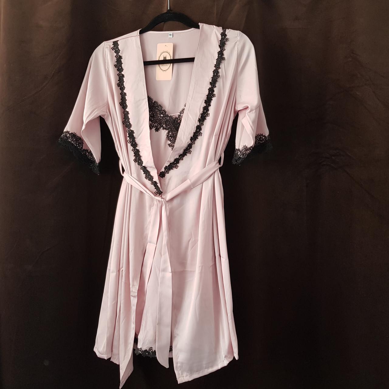 Жіноча нічна сорочка+халат. Мереживо - 318-04