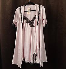 Жіноча нічна сорочка+халат. Мереживо - 318-04, фото 2