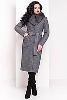 Пальто шерстяное зимнее женское с натуральным мехом