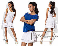 Комплект - платье-майка мини из хлопкового трикотажа с двумя рядами оборок-прошв на подоле и блузон из двунитки 8924