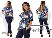 Костюм-двойка - блуза прямая из принтованного льна с отворотами рукавов-кимоно и приталенные брюки из летнего коттона X6376