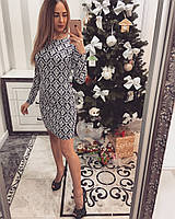 Женское модное платье с узором черный+белый, S