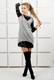 Женское комбинированное ангоровое платье Монита/ размер 44-52 / цвет серый