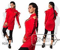 Удлинённая прямая рубашка из стрейч-поплина с вырезами на завязках по плечам и вышивкой на груди и длинных манжетах 9039
