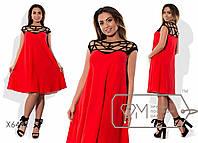 Платье-трапеция мини из креп-шифона без рукавов с ажурно переплетённым контрастным лифом и спинкой X6432