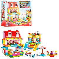 Конструктор 55007 дом, детская площадка, фигурки, животные, 210 деталей