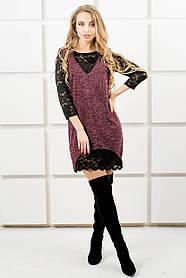 Женское комбинированное ангоровое платье Монита/ размер 44-52 / цвет бордо