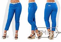 Укороченные приталенные брюки из стрейч-коттона средней посадки с косыми карманами, задними клапанами и поясом X6582