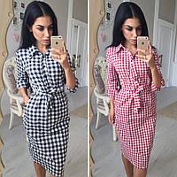 Женское модное платье-рубашка с пояском в клетку (2 цвета)