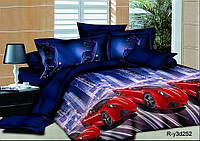 """Полуторный комплект постельного белья с детским рисунком """"Ночные огни"""" 150х220 из ранфорса"""