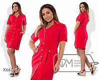 Платье-сафари мини полуприталенное из коттона под пояс с короткими рукавами на патиках, V-вырезом и карманами карго X6676
