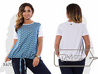 Блузка прямая из коттона и трикотажа двухцветная с короткими рукавами и эластичной кулиской на поясе X6700