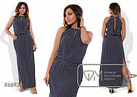 Платье макси прямое из штапеля без рукавов с американской проймой, прорезным декольте, эластичным поясом и разрезами X6693