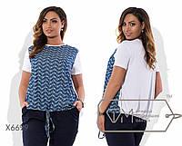 Блузка прямая из коттона и трикотажа двухцветная с короткими рукавами и эластичной кулиской на поясе X6699