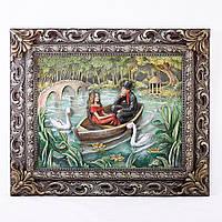 Картина барельеф Пара влюбленных в лодке